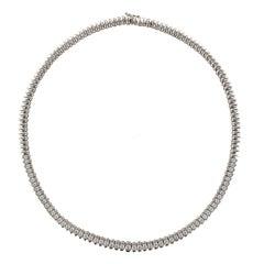 French Modern 4.72 Carat Diamond 18 Karat White Gold Necklace