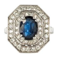 French Modern Art Deco Spirit Sapphire Diamond White Gold Hexagonal Ring