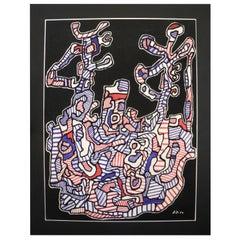 French Modern Art Original Serigraph by Jean Dubuffet, 1964