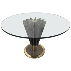 French Modern Brass, Chrome, Steel and Glass Dining/ Centre Table, Pierre Cardin