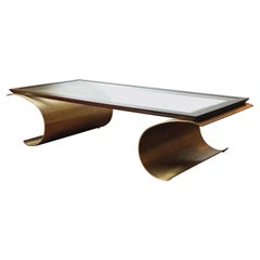French Modern Bronze & Glass Coffee Table