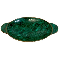 French Modern Bronze & Malachite Clad Vide-Poche