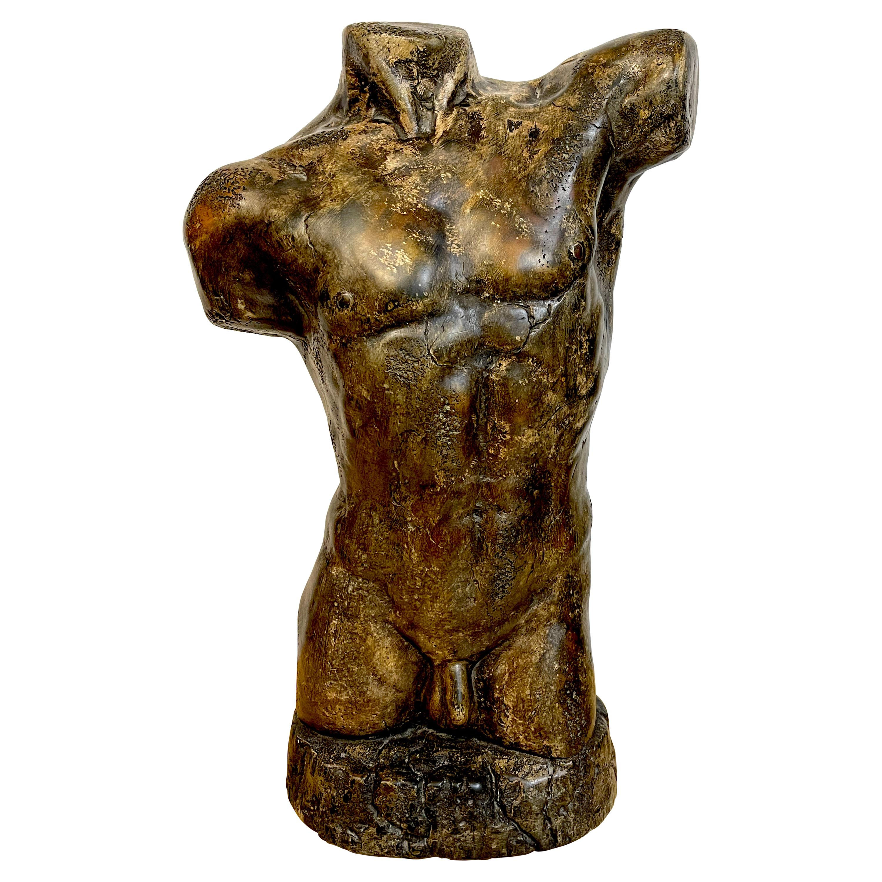 French Modern Bronzed Plaster Sculpture of a Male Nude Torso