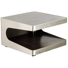 French Modern Brushed Stainless Steel Two-Tiered Coffee or End Table, 1970s