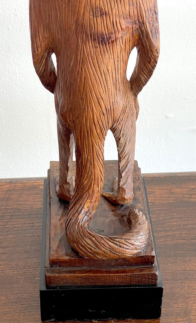 French Modern Carved Pine Sculpture of a Standing Monkey For Sale 4