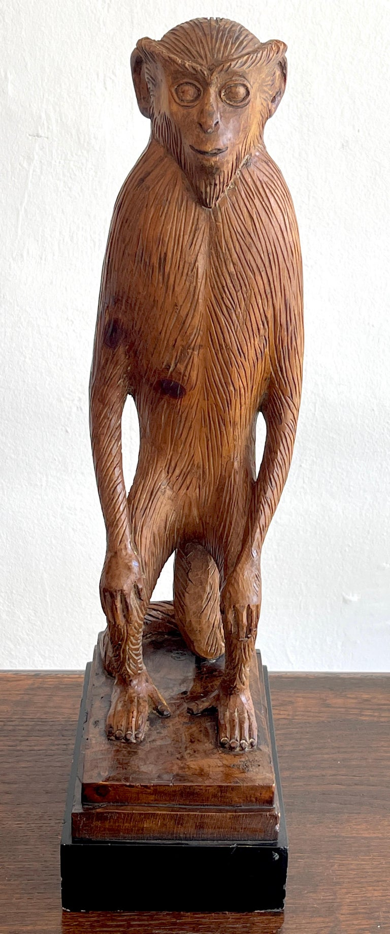French Modern Carved Pine Sculpture of a Standing Monkey A well carved figure of a crouching monkey with the arms resting on the legs.  Raised on an eboinzed wood base.
