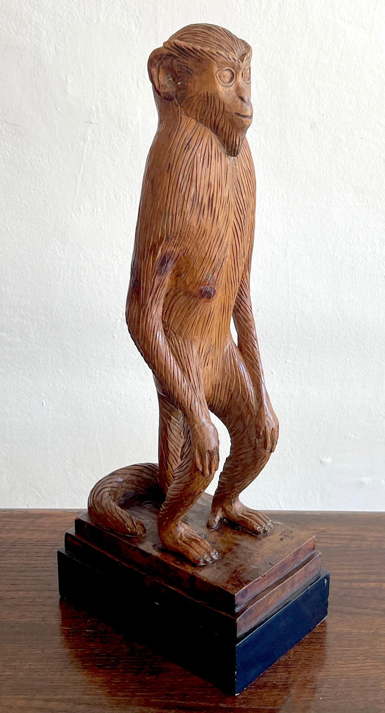 Hand-Carved French Modern Carved Pine Sculpture of a Standing Monkey For Sale