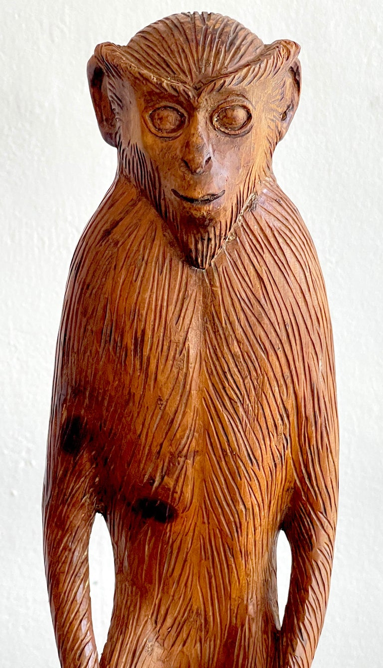 French Modern Carved Pine Sculpture of a Standing Monkey In Good Condition For Sale In West Palm Beach, FL