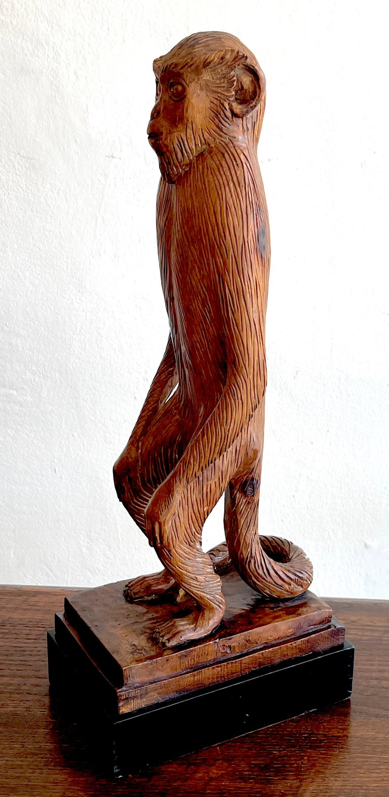 20th Century French Modern Carved Pine Sculpture of a Standing Monkey For Sale