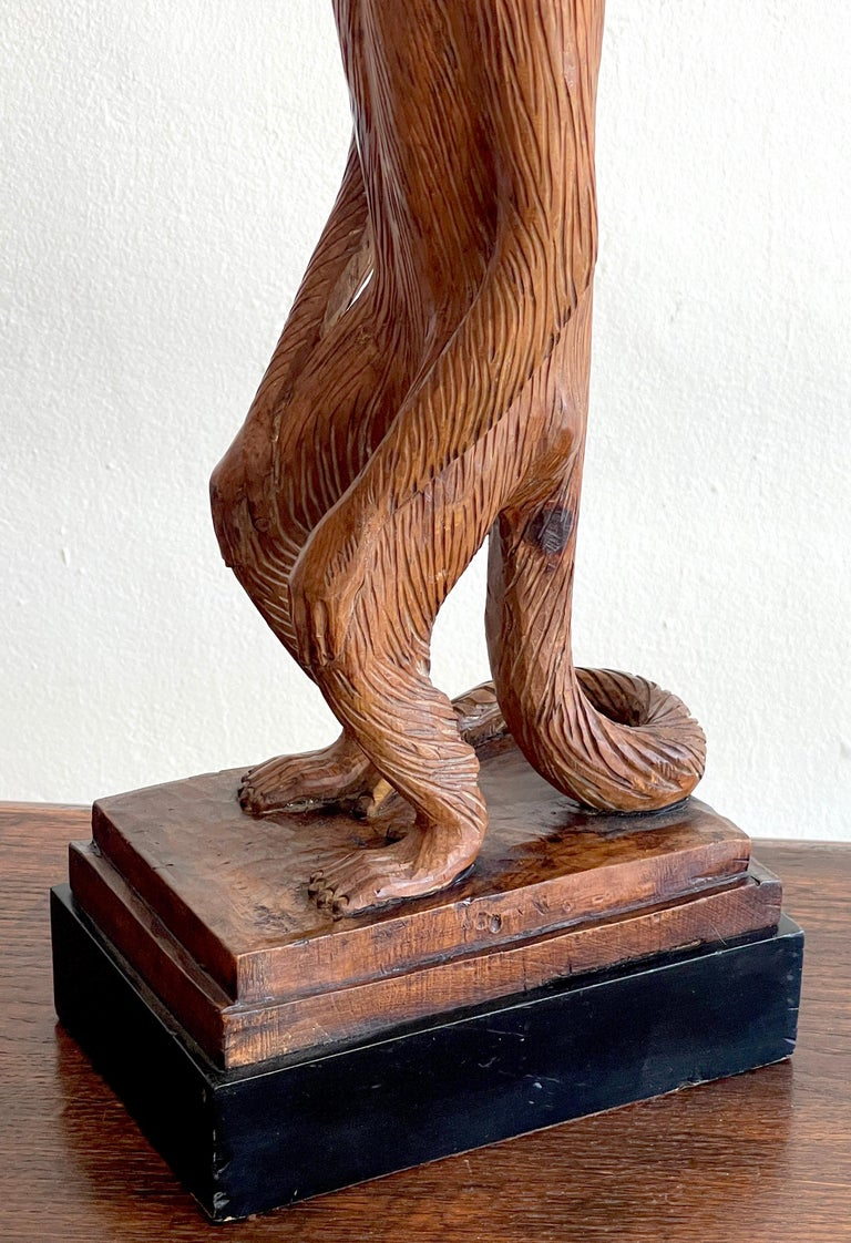 Wood French Modern Carved Pine Sculpture of a Standing Monkey For Sale