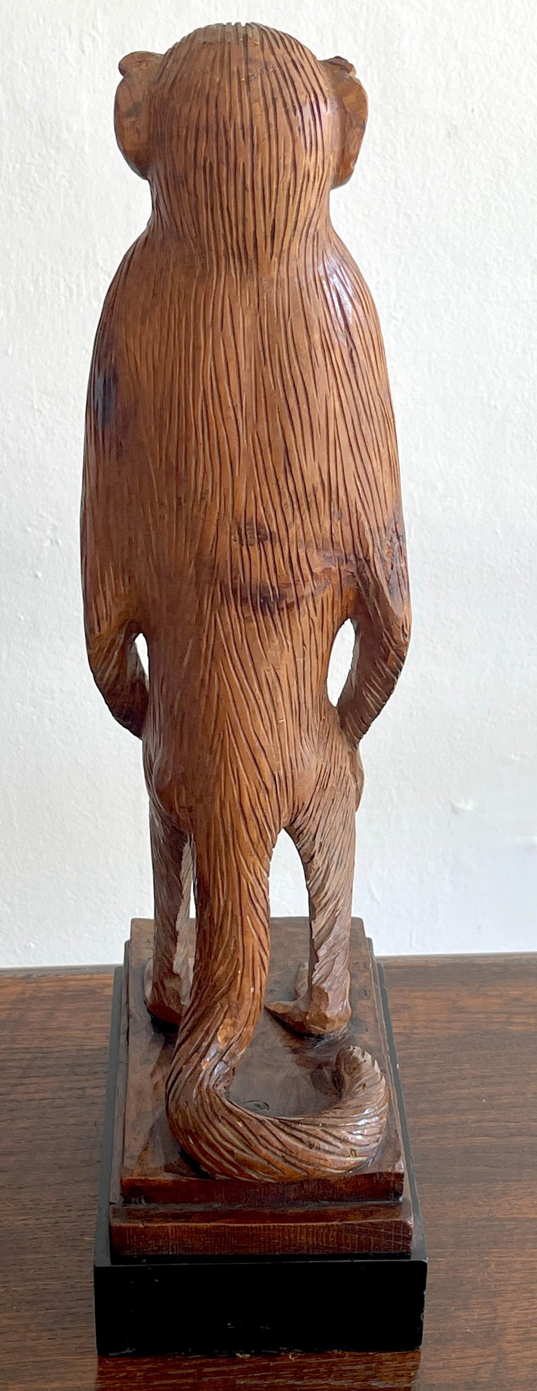French Modern Carved Pine Sculpture of a Standing Monkey For Sale 2