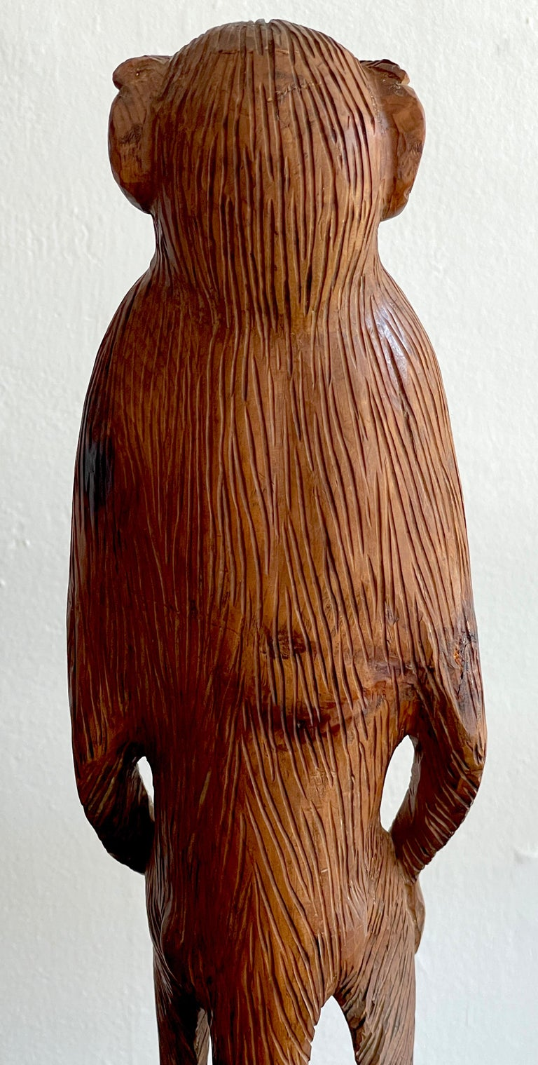 French Modern Carved Pine Sculpture of a Standing Monkey For Sale 3