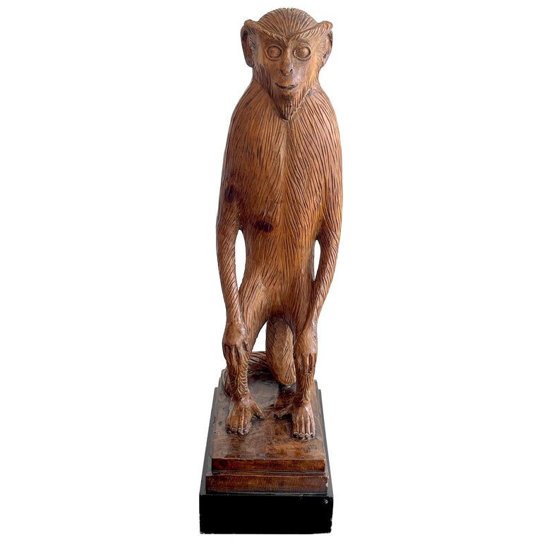 French Modern Carved Pine Sculpture of a Standing Monkey For Sale