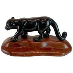 French Modern Carved Wood Sculpture of Black Panther/ Jaguar