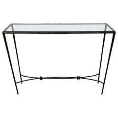 French Modern Cast Bronze and Glass Console Table