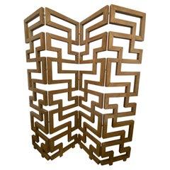 French Modern Cerused Oak 4-Panel Folding Screen/Divider