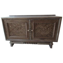 French Modern Cerused Oak Two-Door Credenza, Jean Charles Moreux