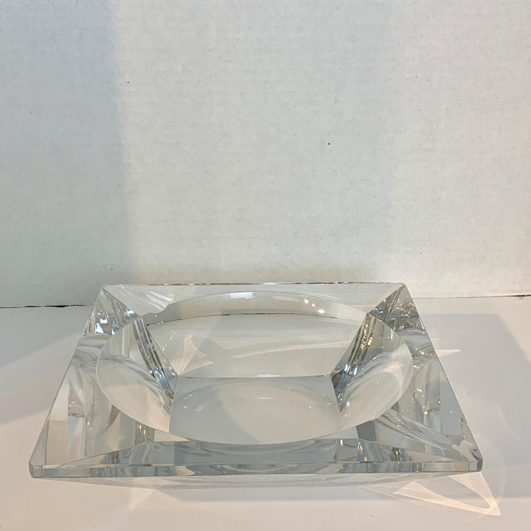 French Modern Crystal Cigar Ashtray, with two cigar rests, subtle geometric circle inscribed in square pattern. Large size, heavy clear crystal, No chips, cracks or repairs.