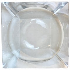 French Modern Crystal Cigar Ashtray