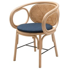 French Modern Design Curved Rattan and Handcrafted Woven Cane Wicker Armchair
