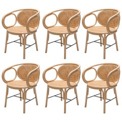 French Modern Design Rattan and Cane Set of Six Dining Armchairs