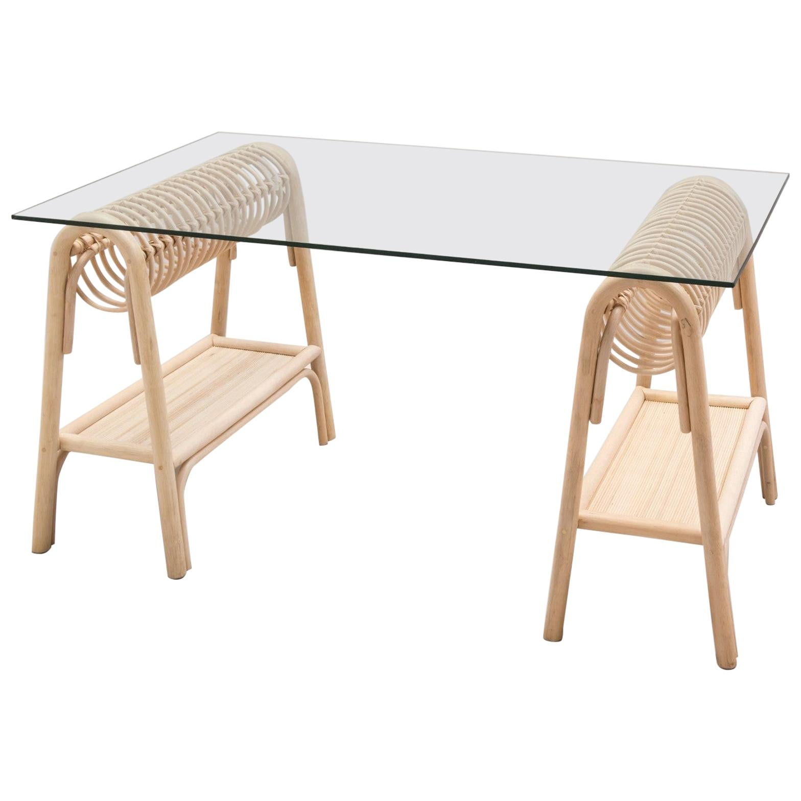 French Modern Design Rattan and Glass Writing Table or Desk