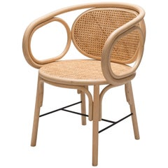 French Modern Design Rattan and Handcrafted Wicker Cane Armchair