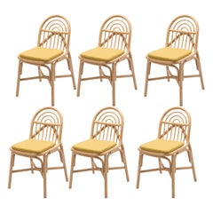 French Modern Design Set of Six Rattan Dining Chairs