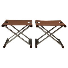 French Modern Folding Benches Style of Hermès a Pair