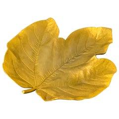 French Modern Gilt Bronze Leaf Vide-Poche