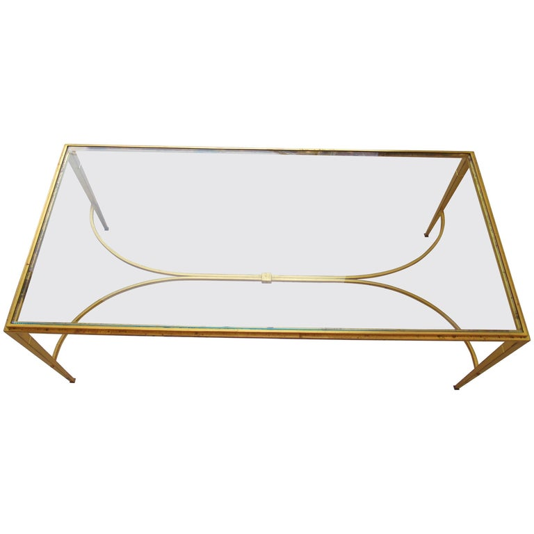 French Modern Gilt Iron And Glass Coffee Or Low Table Maison