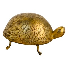 French Modern Gilt Lacquer Terracotta and Iron Model of a Turtle
