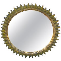 French Modern Giltwood Sunburst Mirror