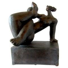 French Modern Glazed Terracotta Figural Sculpture, Michele Raymond, 2007