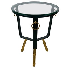 French Modern Green Stitched Leather Table in the Style of Adnet