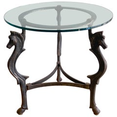 French Modern Iron horse Motif Side/End Table, circa 1960