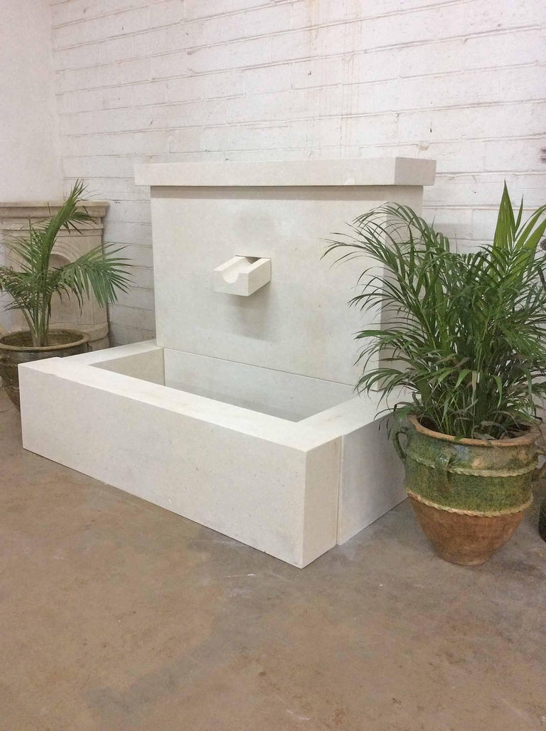 Hand-Carved French Modern Limestone Fountain For Sale