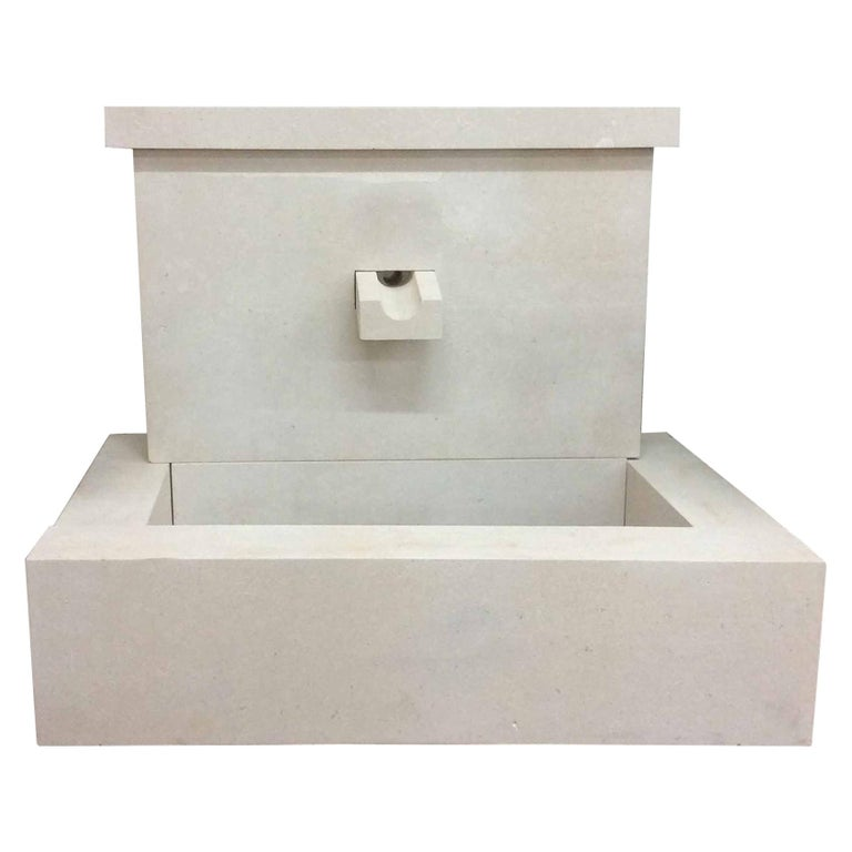 French Modern Limestone Fountain For Sale