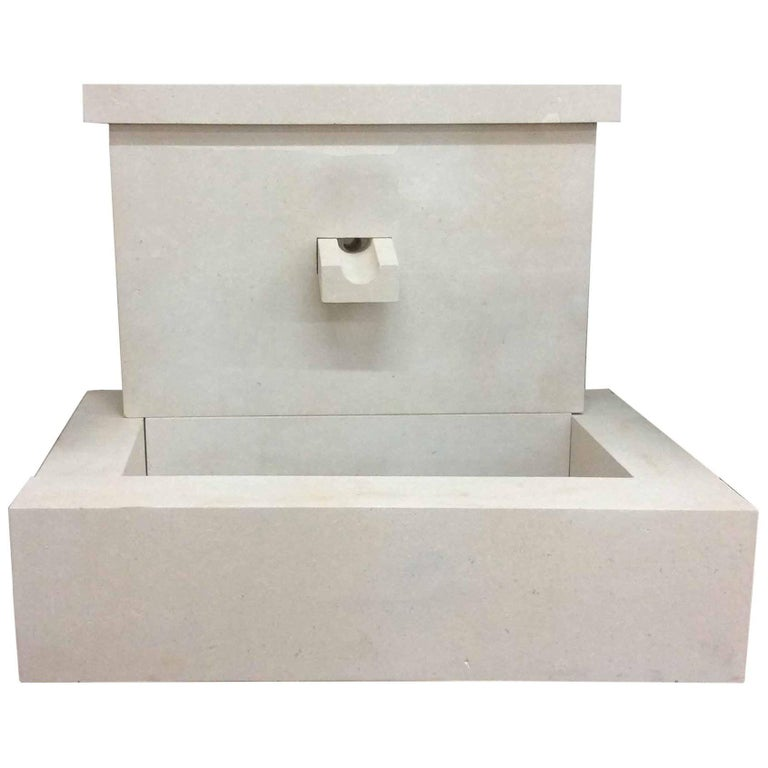 French Modern Limestone Fountain