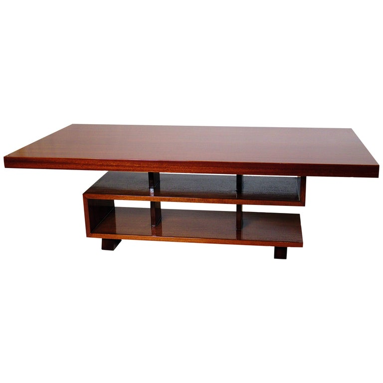 """Modern French Coffee Table: French Modern Mahogany """"Greek Key"""" Coffee Table, Andre"""