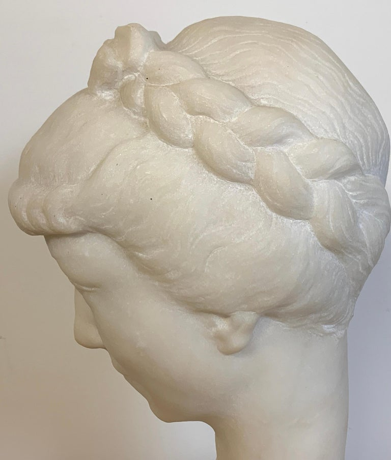 French Modern Marble Portrait Bust of a Lady, by L. Cordonnier, 1951  For Sale 7