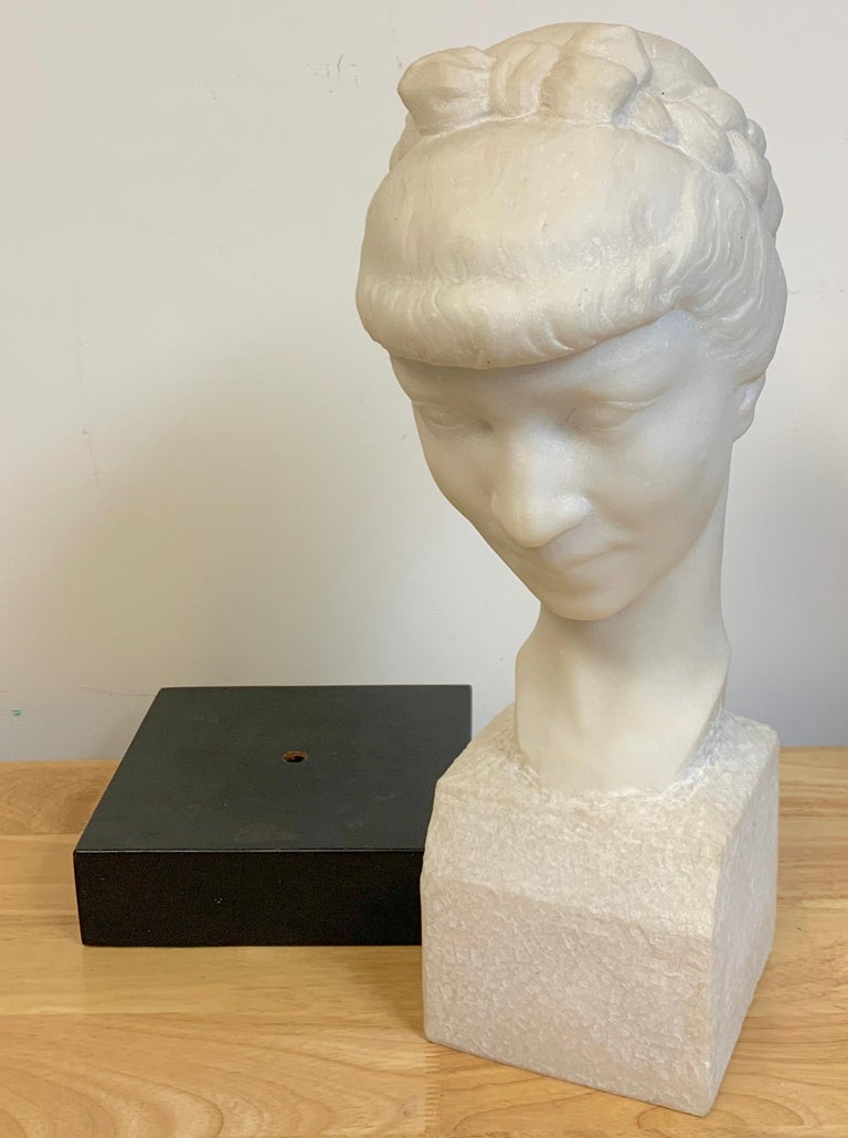 French Modern Marble Portrait Bust of a Lady, by L. Cordonnier, 1951  For Sale 8