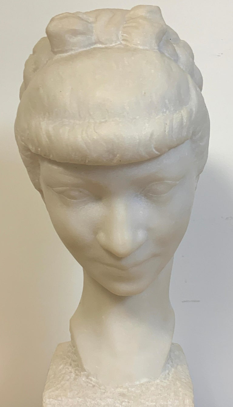 French Modern Marble Portrait Bust of a Lady, by L. Cordonnier, 1951  In Good Condition For Sale In West Palm Beach, FL
