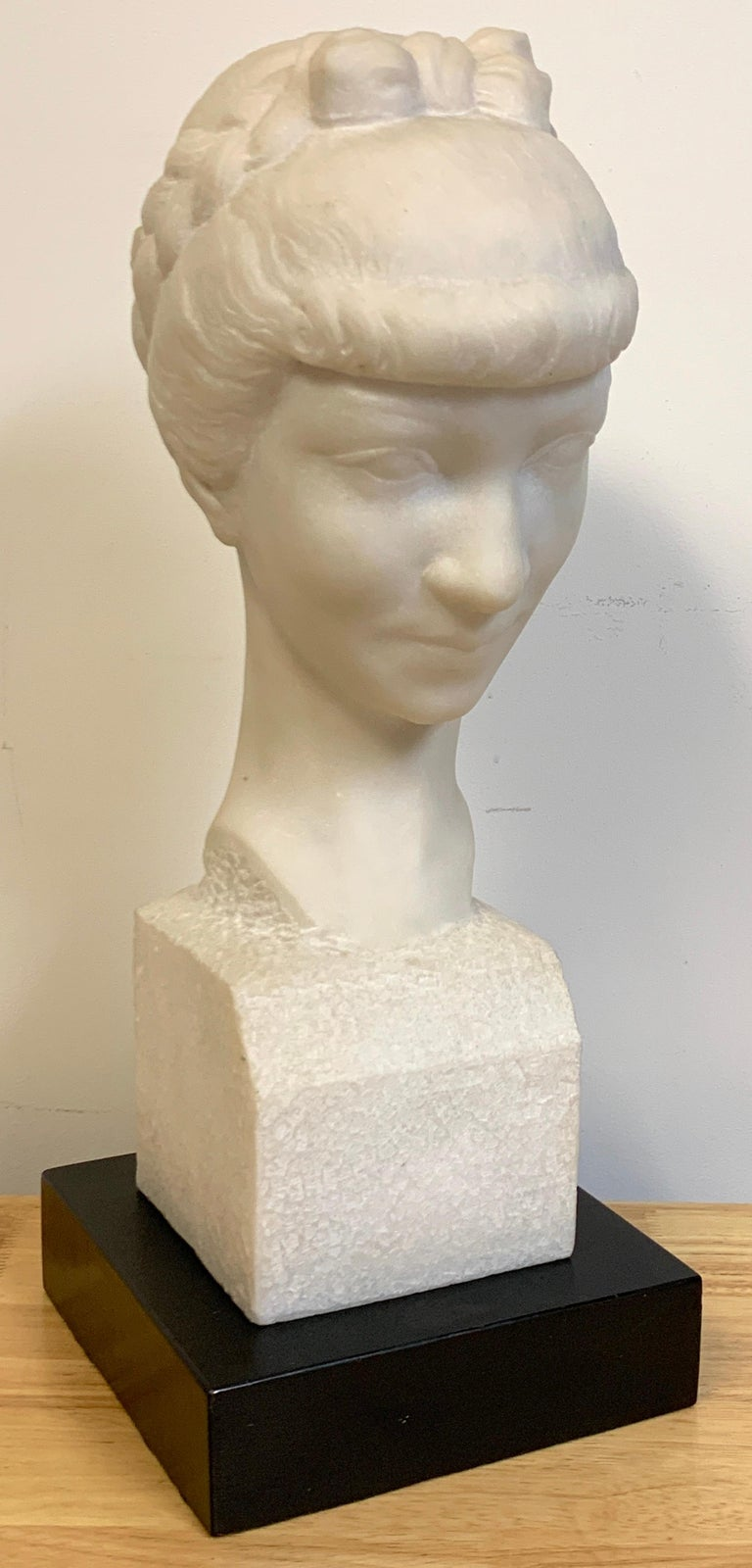 French Modern Marble Portrait Bust of a Lady, by L. Cordonnier, 1951  For Sale 1