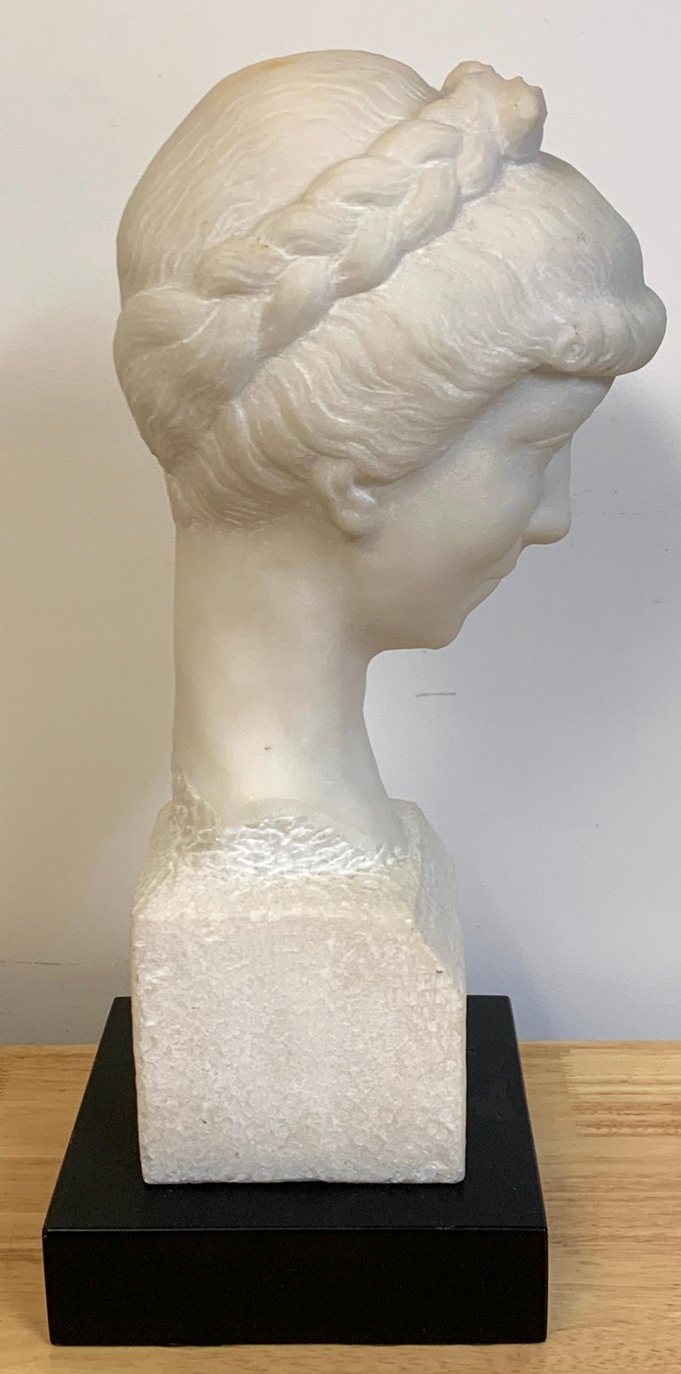 French Modern Marble Portrait Bust of a Lady, by L. Cordonnier, 1951  For Sale 2