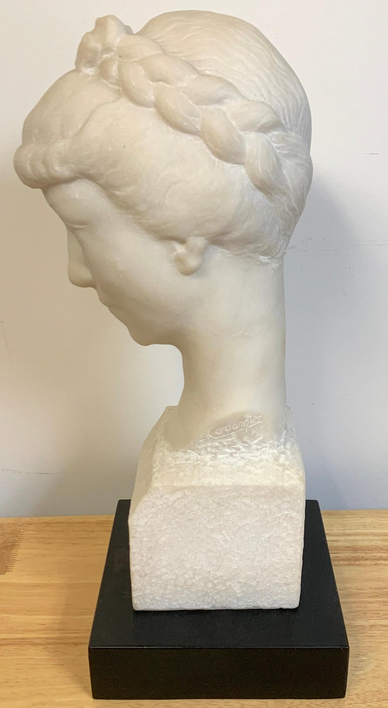 French Modern Marble Portrait Bust of a Lady, by L. Cordonnier, 1951  For Sale 4