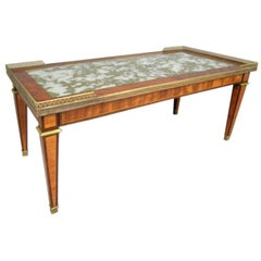 French Modern Neoclassical Brass & Inlaid Woods Coffee Table by Maison Jansen