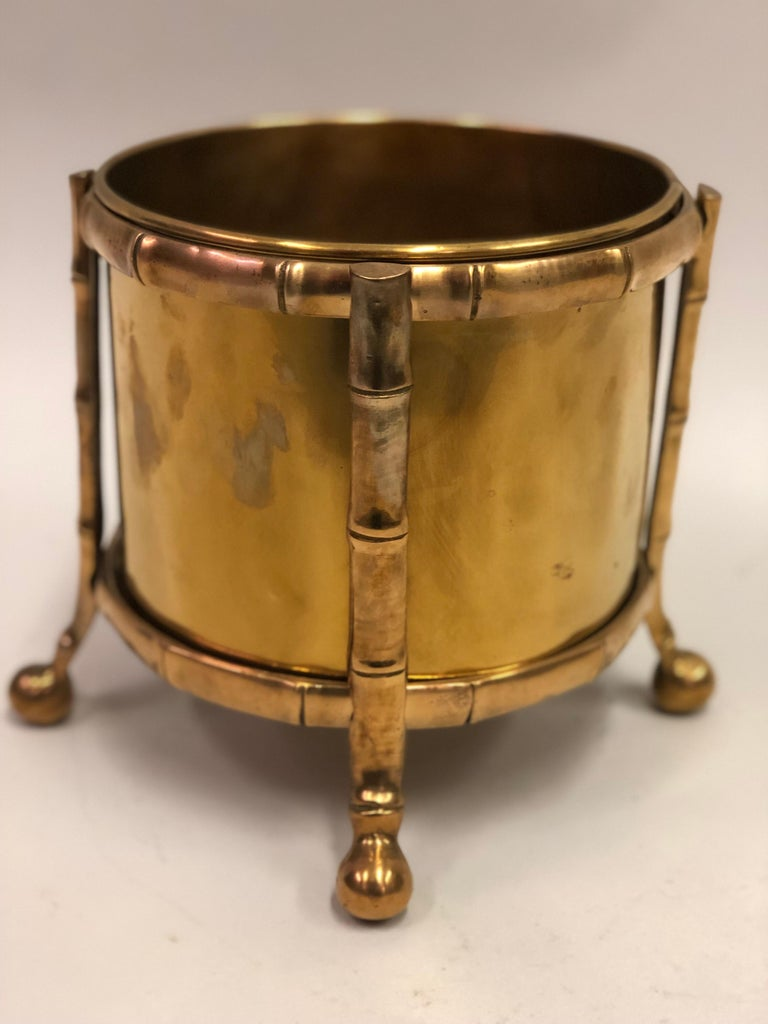 Exquisite, rare French Mid-Century Modern neoclassical bronze and brass waste basket by Maison Baguès. 