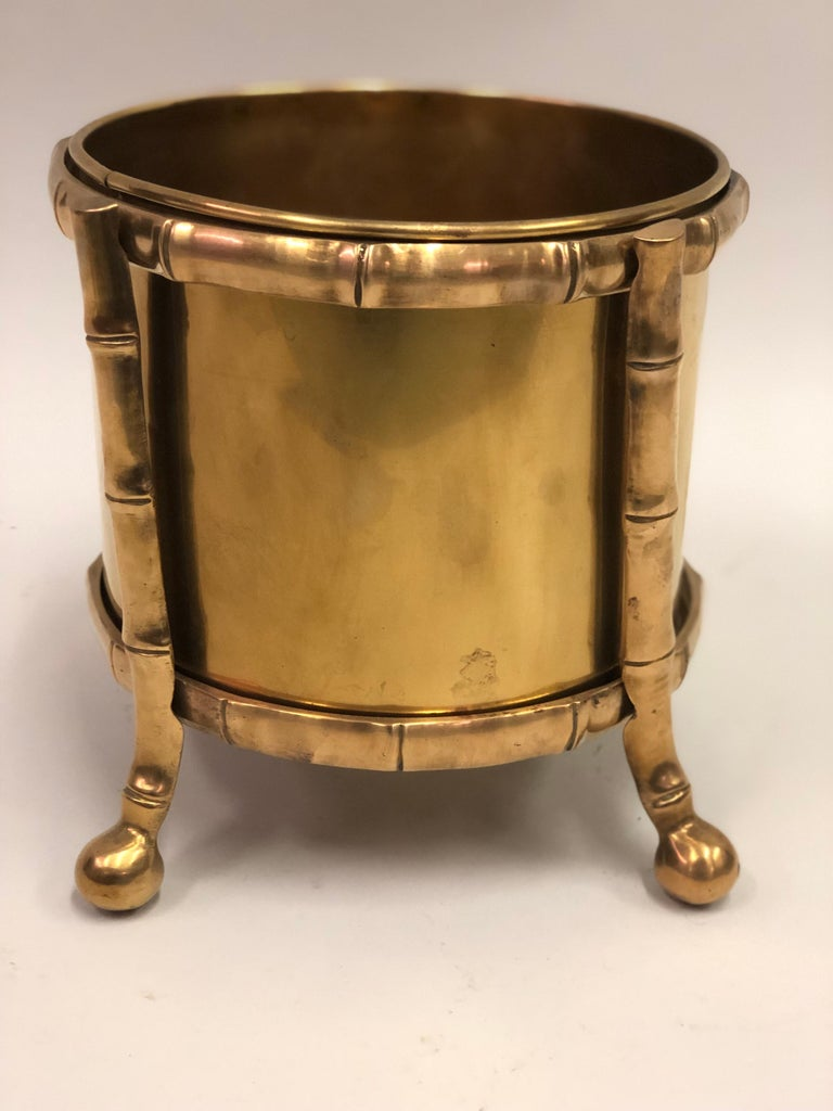French Modern Neoclassical Bronze Faux Bamboo Waste Basket by Maison Baguès In Good Condition For Sale In New York, NY