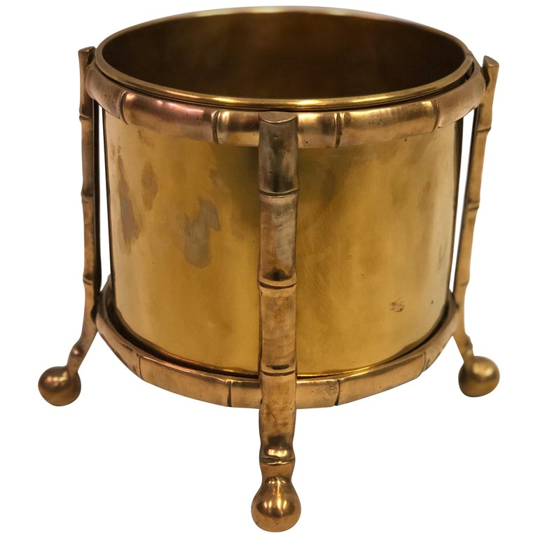 French Modern Neoclassical Bronze Faux Bamboo Waste Basket by Maison Baguès For Sale